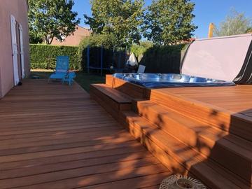 Création d'un espace terrasse / SPA en bois exotique type Cumaru à Plaisance du touch
